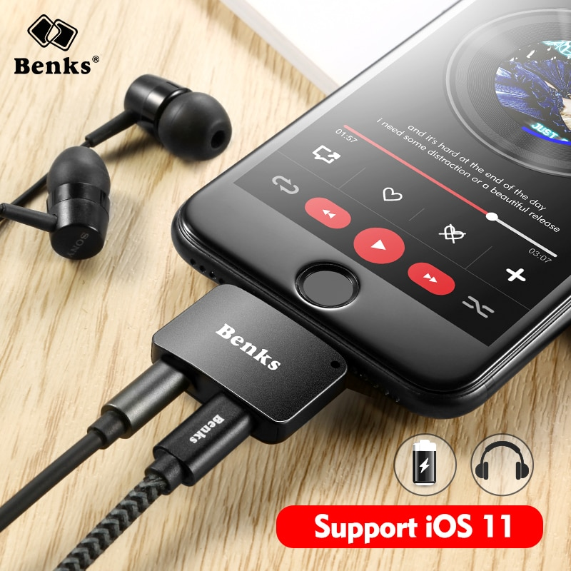 Benks For Iphone 7 8 Plus 2 In 1 Audio Charging Adapter Bull